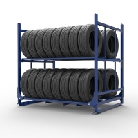 2 Layers Foldable Tire Stacking Racks for PCR Tire